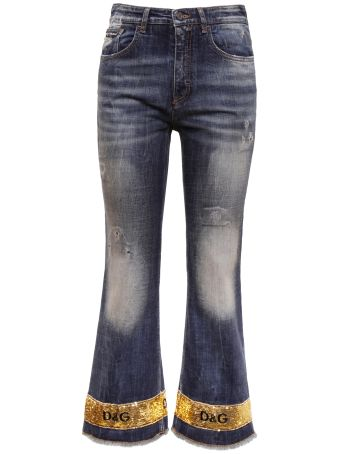 Jeans With Five Pockets And Sequins