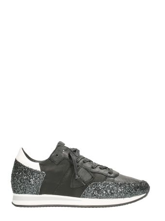 Philippe Model Tropez Black Glitter Leather Sneakers