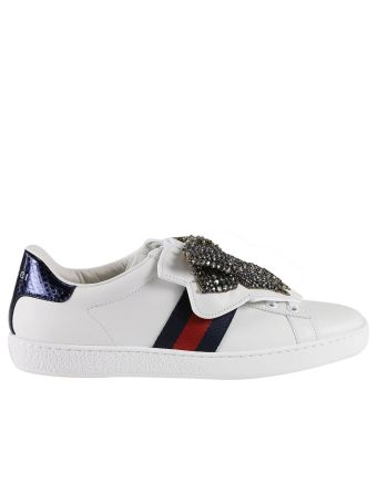 Sneakers Ace Sneakers With Maxi Rhinestones Bows And Web Bands Removable Applications