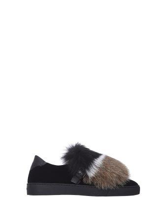 Santoni Velvet Sneakers With Fur