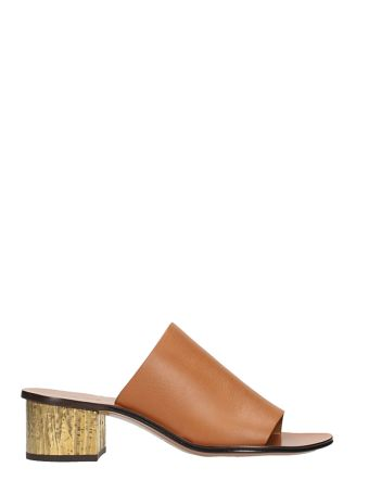 Chloé Light Brown Leather Qassie Mules