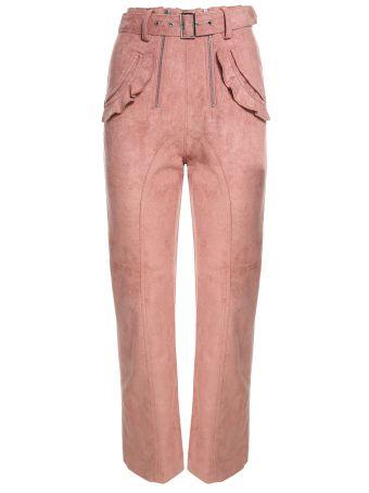 self-portrait Lexi Ruffle-trimmed Faux-suede Trousers