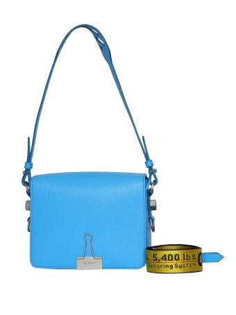 Off-White Blue Leather Flap Bag