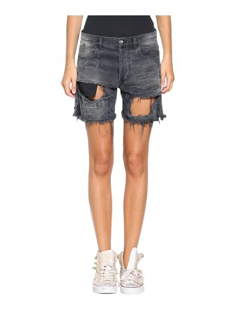 Faith Connexion Destroyed Denim Cotton Shorts
