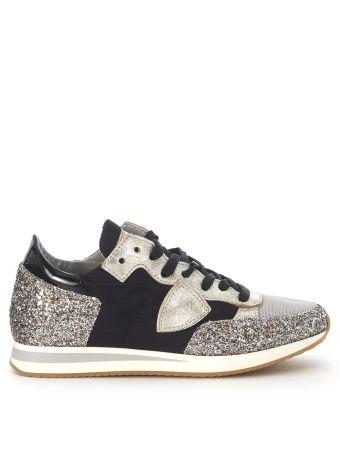 Sneaker Philippe Model Tropez In Black Nylon Fabric And Glitter