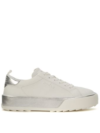 Hogan Rebel R320 White And Silver Leather Sneaker