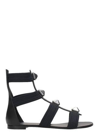 Giuseppe Zanotti Studs Black Leather Flat Sandals