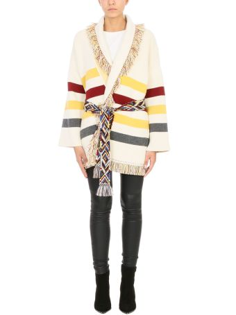 Alanui Cardigan Over In Beige And Yellow Cashmere