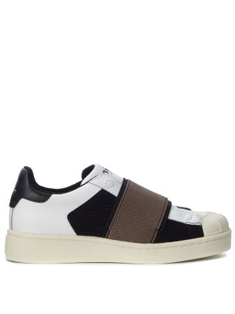 Slip On Moa In Black And White Fabric With Brown Strap