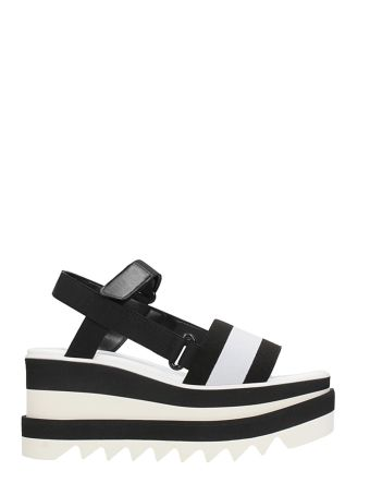 Stella McCartney Black And White Elyse Platform Slingback Sandals