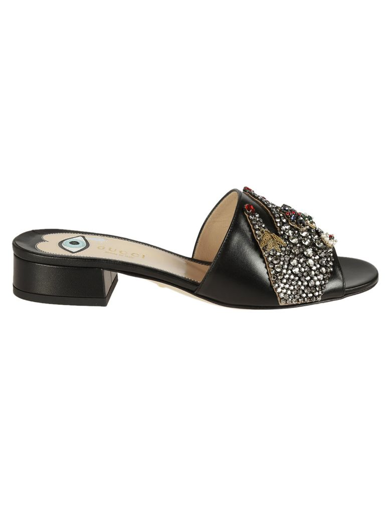GUCCI Crystal Embellished Sandals in Nero