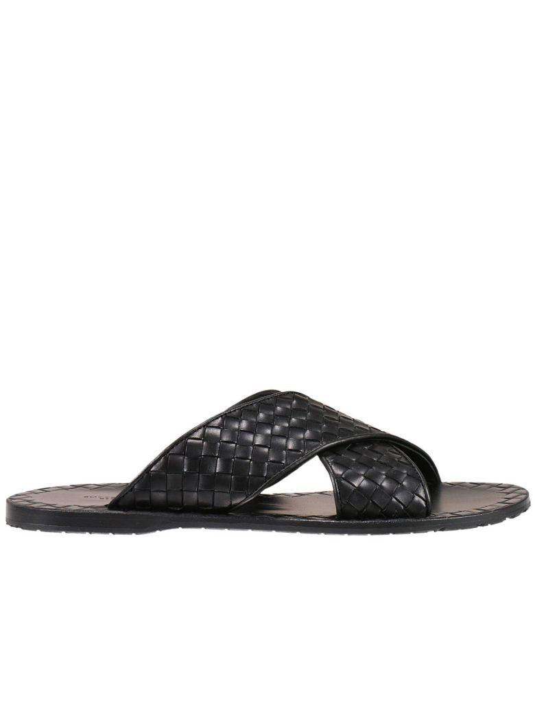 Intrecciato Leather Slides - NavyBottega Veneta