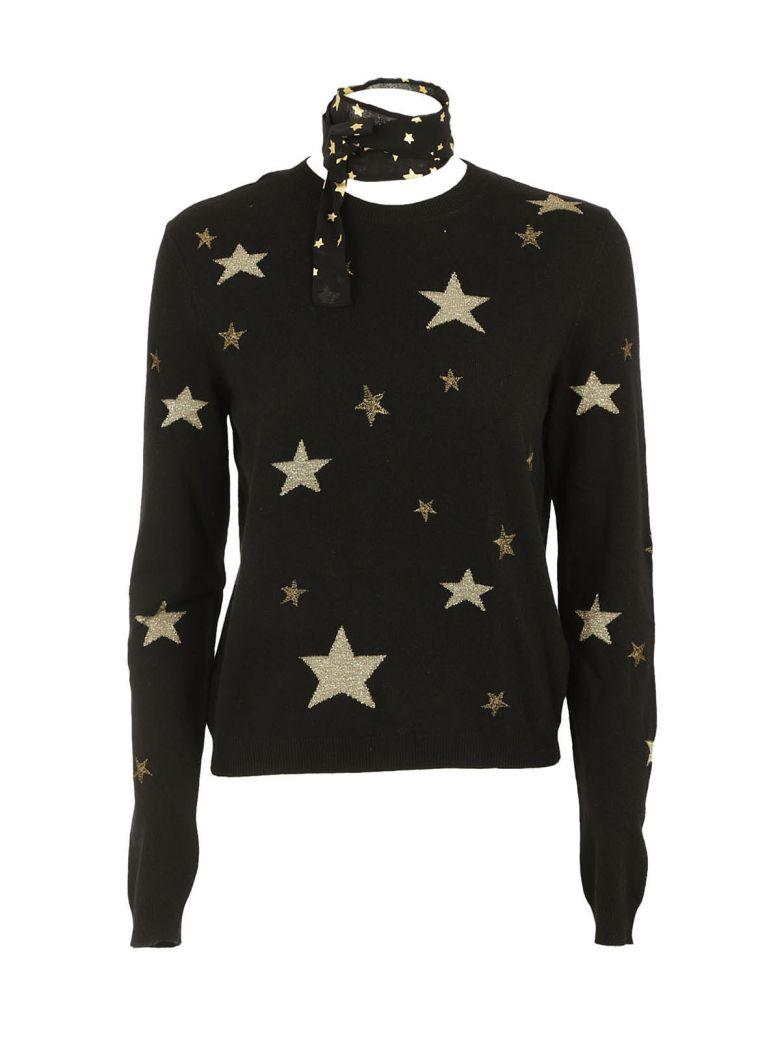 RED VALENTINO Metallic Star-Print Tie-Neck Sweater in Black