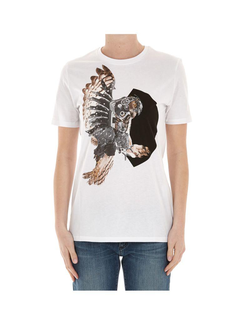 NEIL BARRETT Mechanical Owl Print T-Shirt in White+Bk