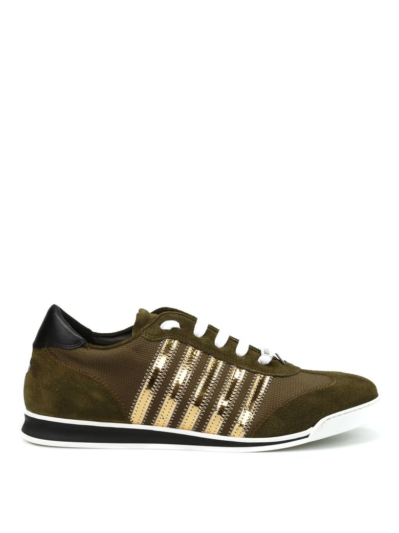 DSQUARED2 New Runner Sneakers in Green/Gold