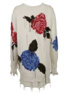 MSGM Floral Intarsia Oversized Sweater