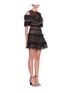 self-portrait Stripe Panelled Lace Dress