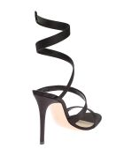 Black Silk Satin Wrap Around Sandals