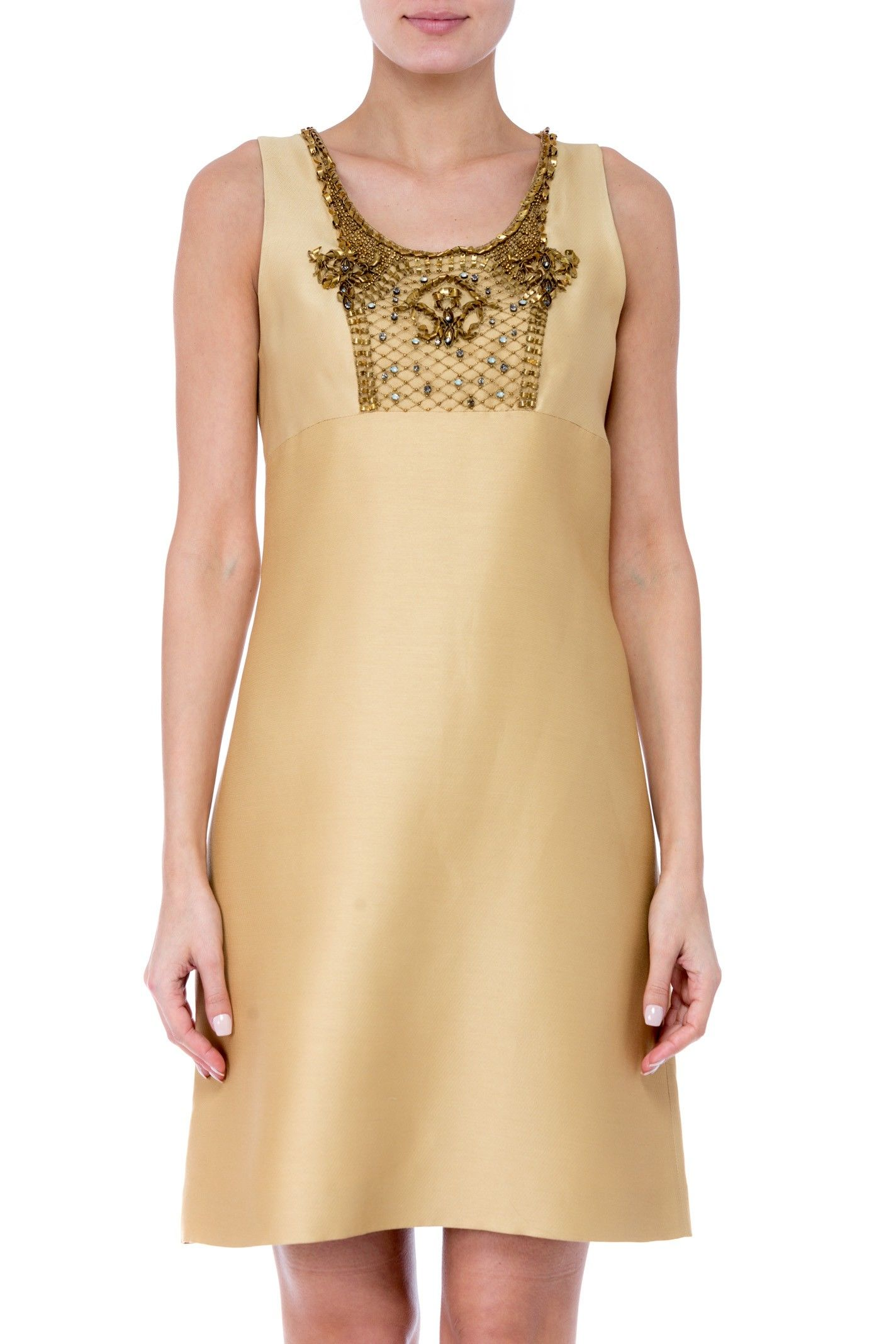 Alberta Ferretti Embellished Bib Fitted Dress