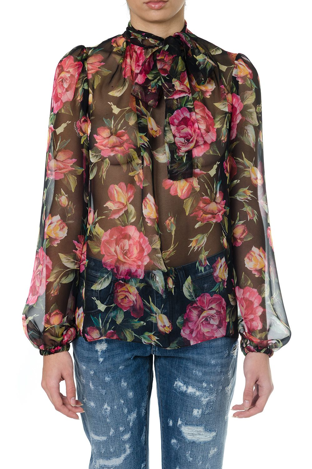 Dolce & Gabbana Roses Printed Silk Blouse
