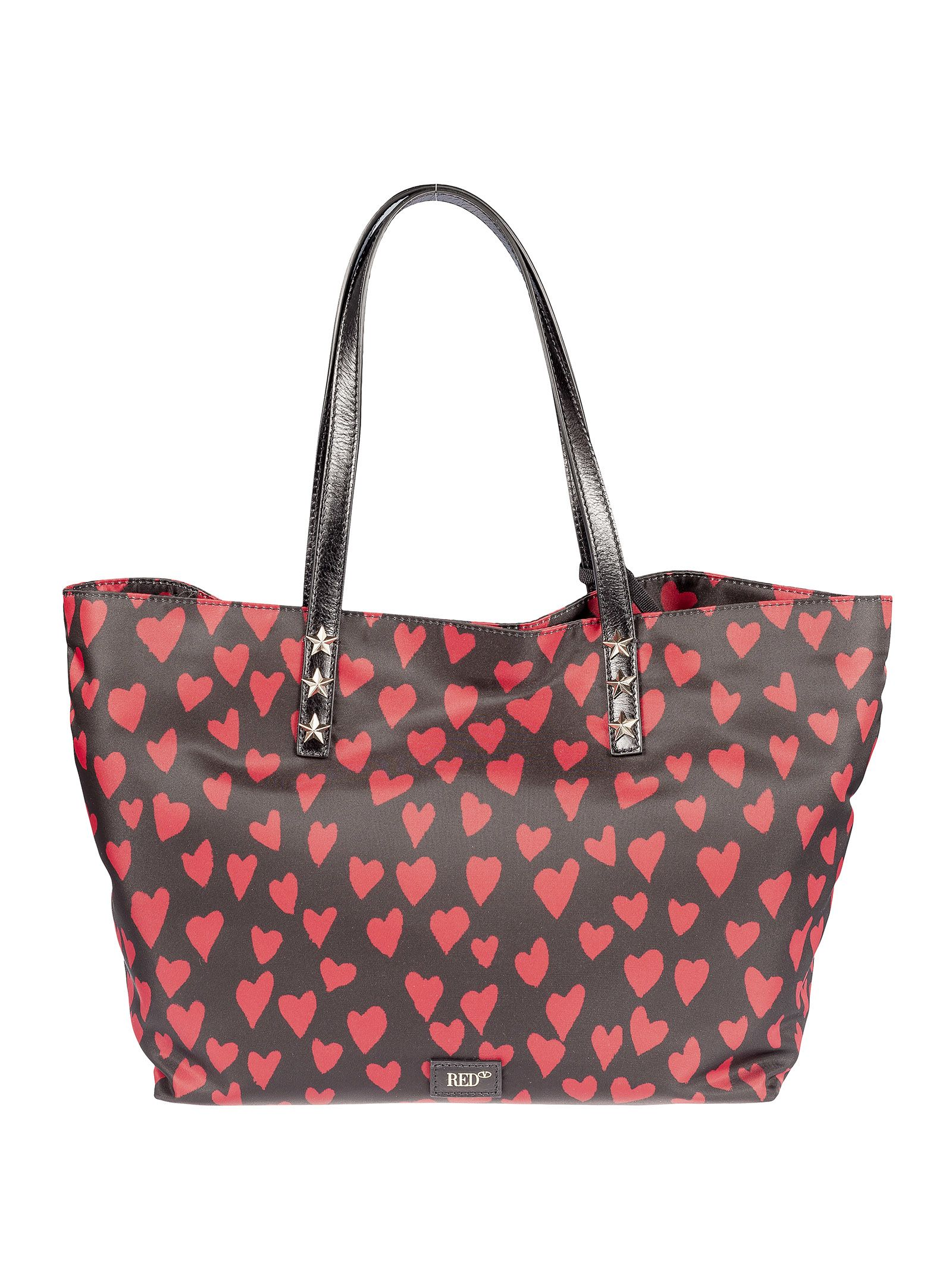 Red Valentino Heart Print Shopper Bag