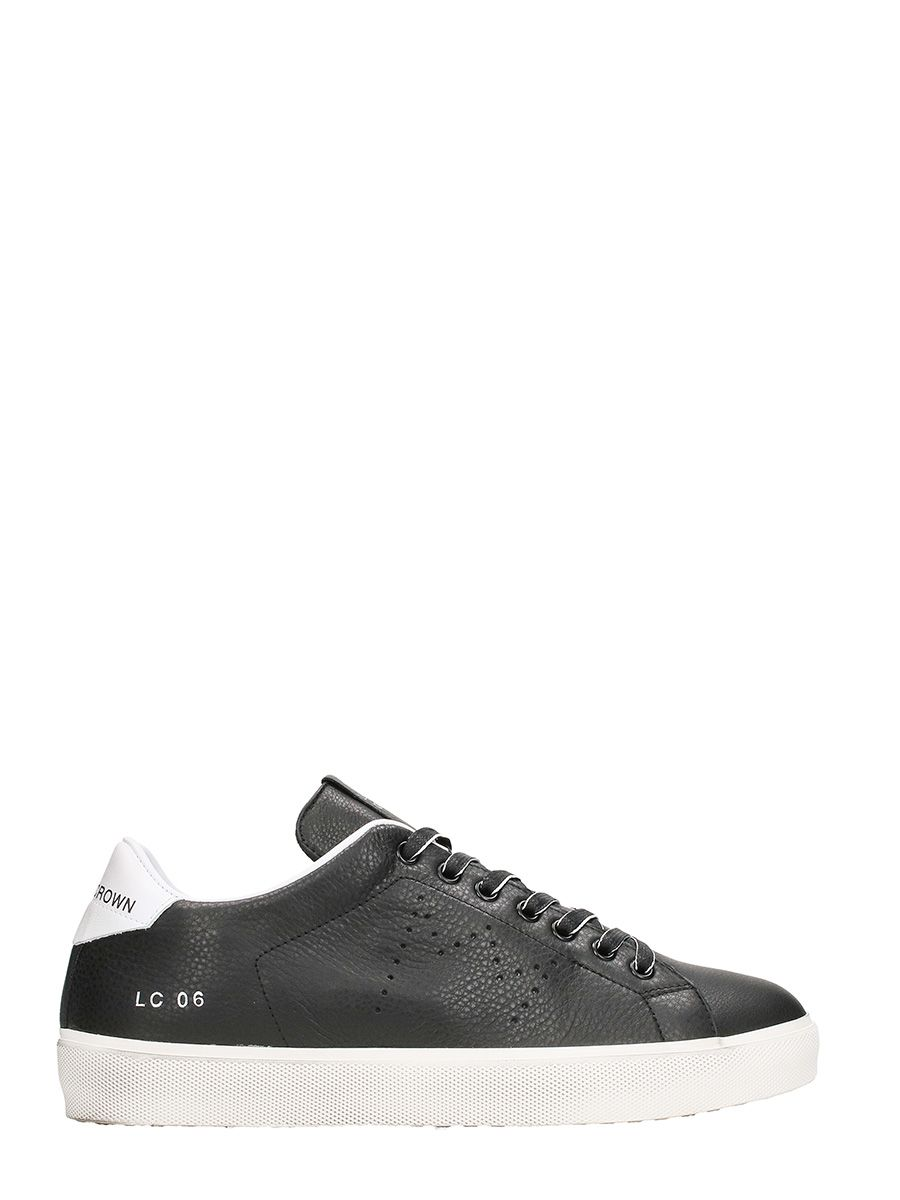 Leather Crown Low Lc06 Black Leather Sneakers