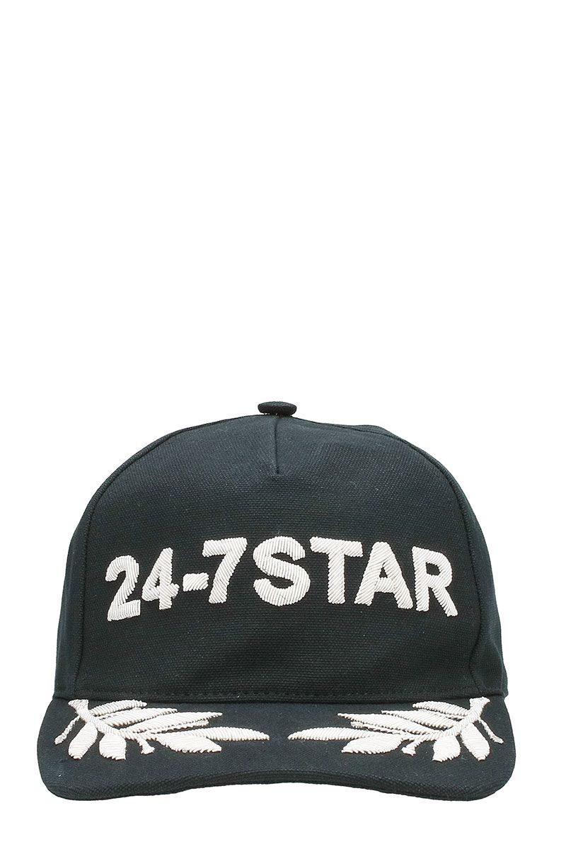 Dsquared2 24-7 Star Black Cotton Snapback Cap White Logo