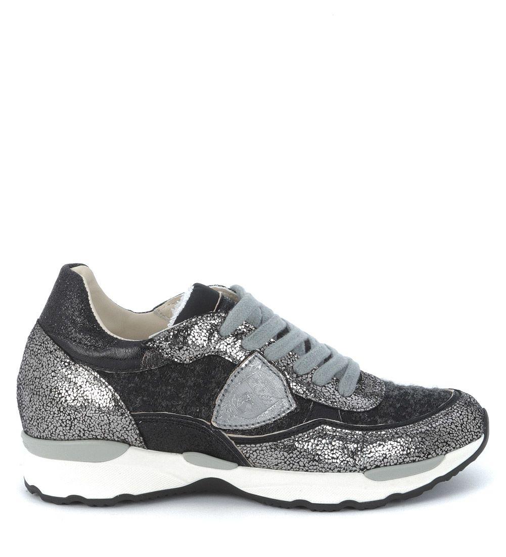 Philippe Model City Flat Sneaker In Grey Metal And Black Tweed