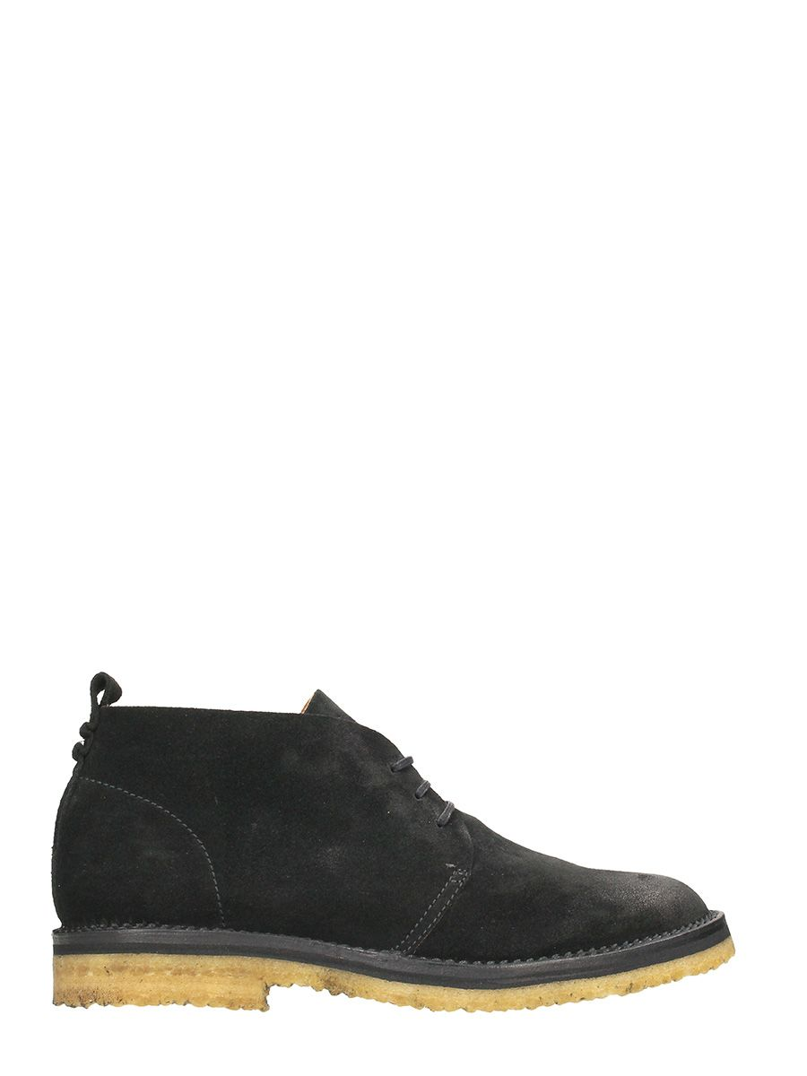 Buttero Black Suede Lace-up Shoes
