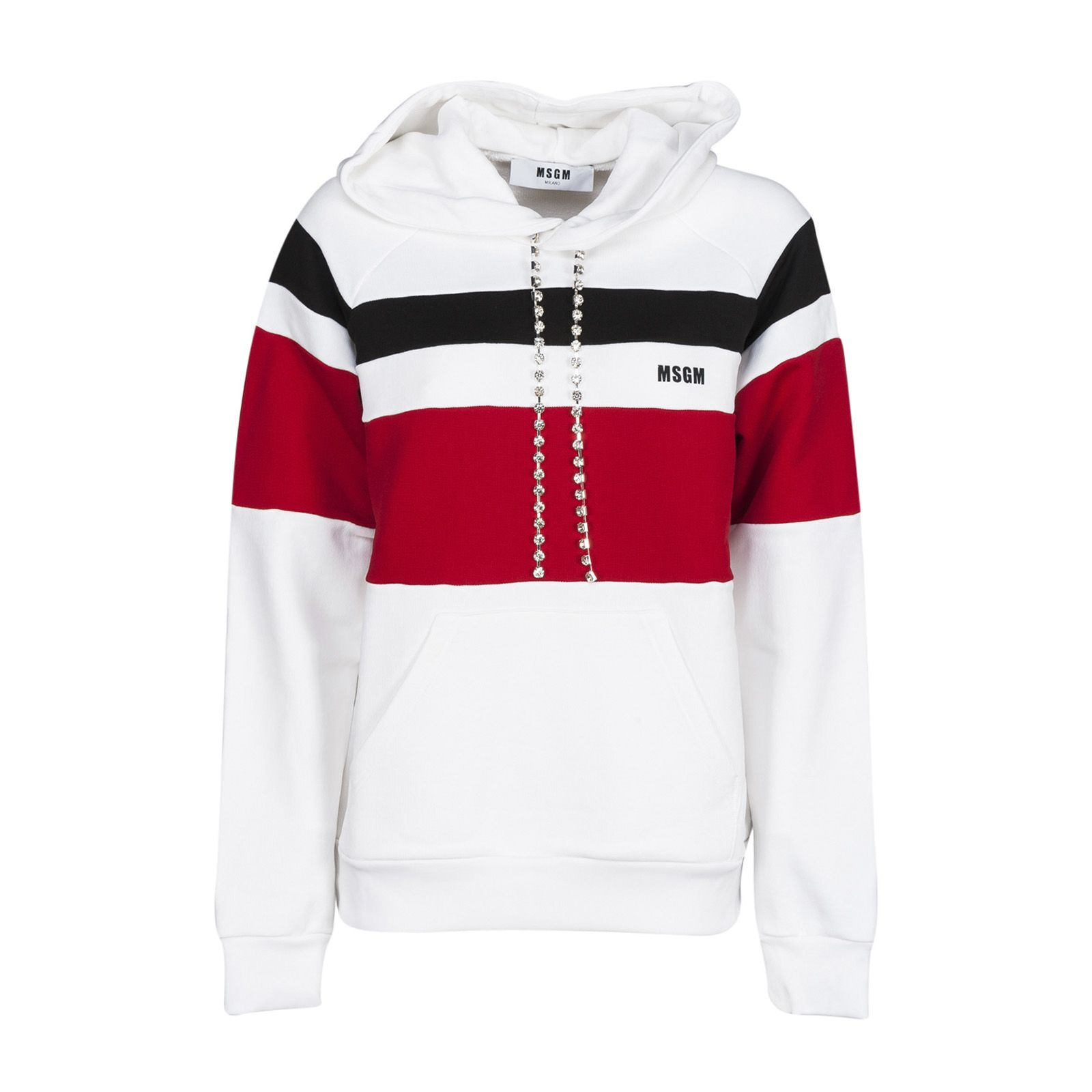 Msgm Colour Block Hooded Sweatshirt