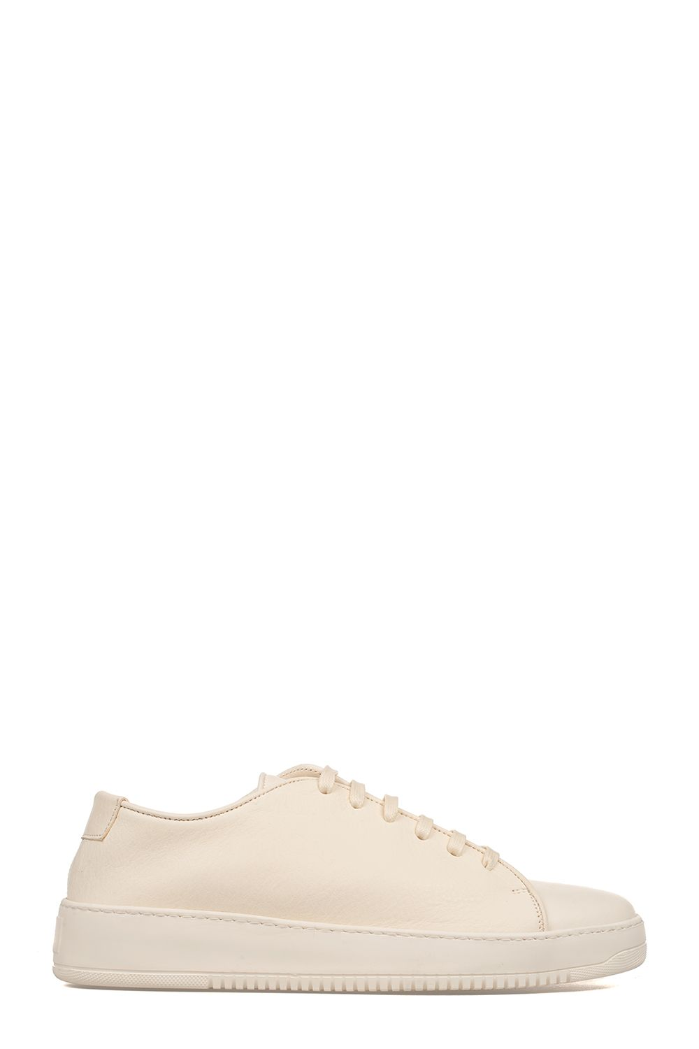 Milk White Hammered Leather Sneakers