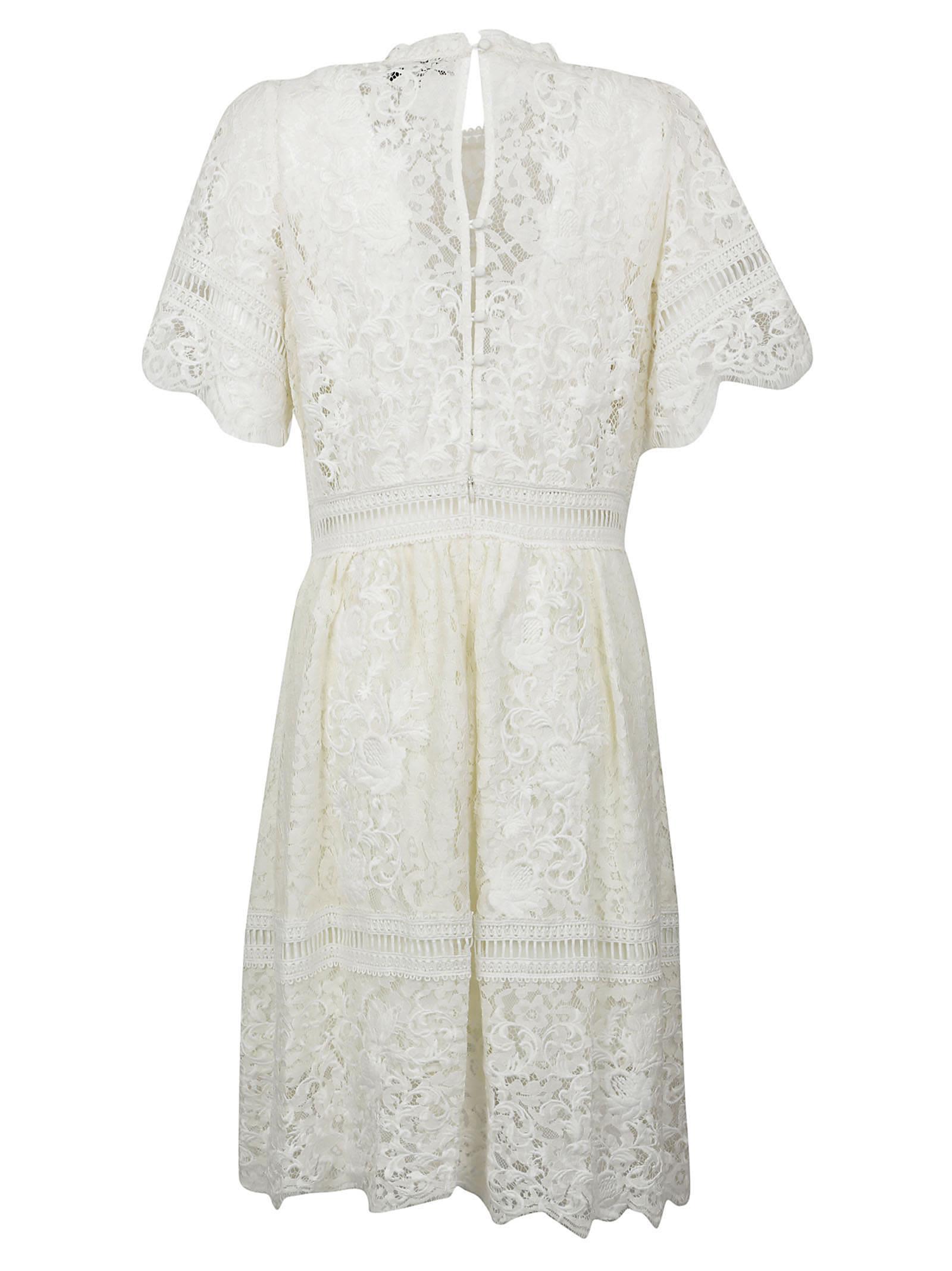 sea sea new york puff sleeved embroidered lace dress cream women 39 s dresses italist. Black Bedroom Furniture Sets. Home Design Ideas