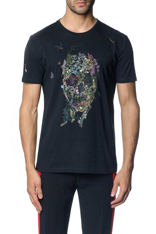 Alexander McQueen Black Floral Skull Print T-shirt
