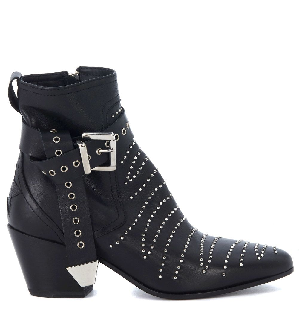 BLACK LEATHER TEXAN ANKLE BOOTS WITH STUDS AND ANKLE STRAP