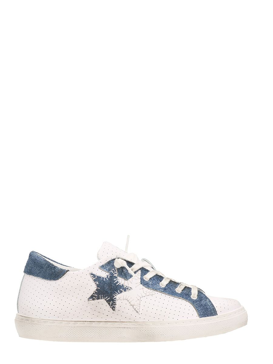 2Star White Low Leather Sneakers