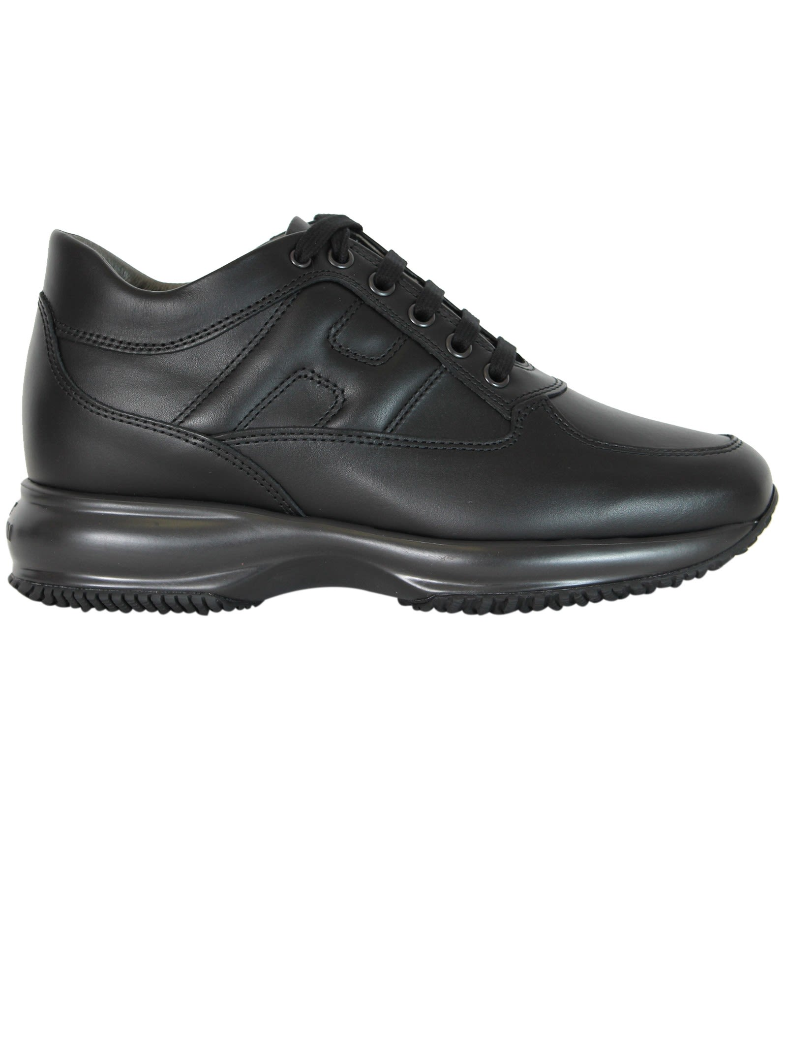 Hogan Black Leather Interactive Sneakers