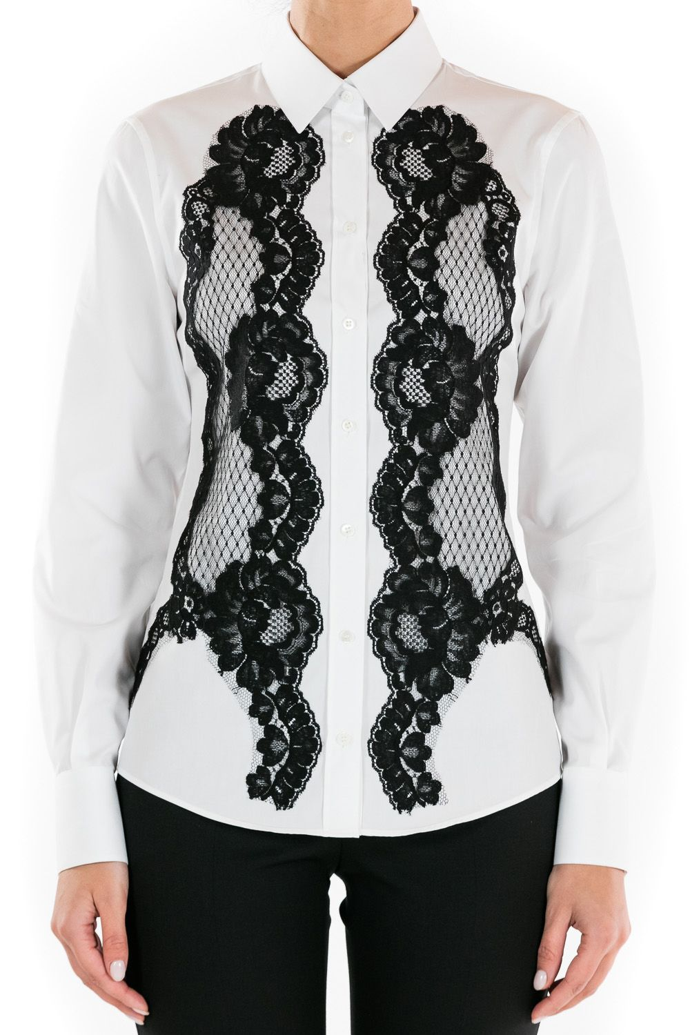 Dolce & Gabbana Shirt In Cotton Poplin With Front Lace Inserts