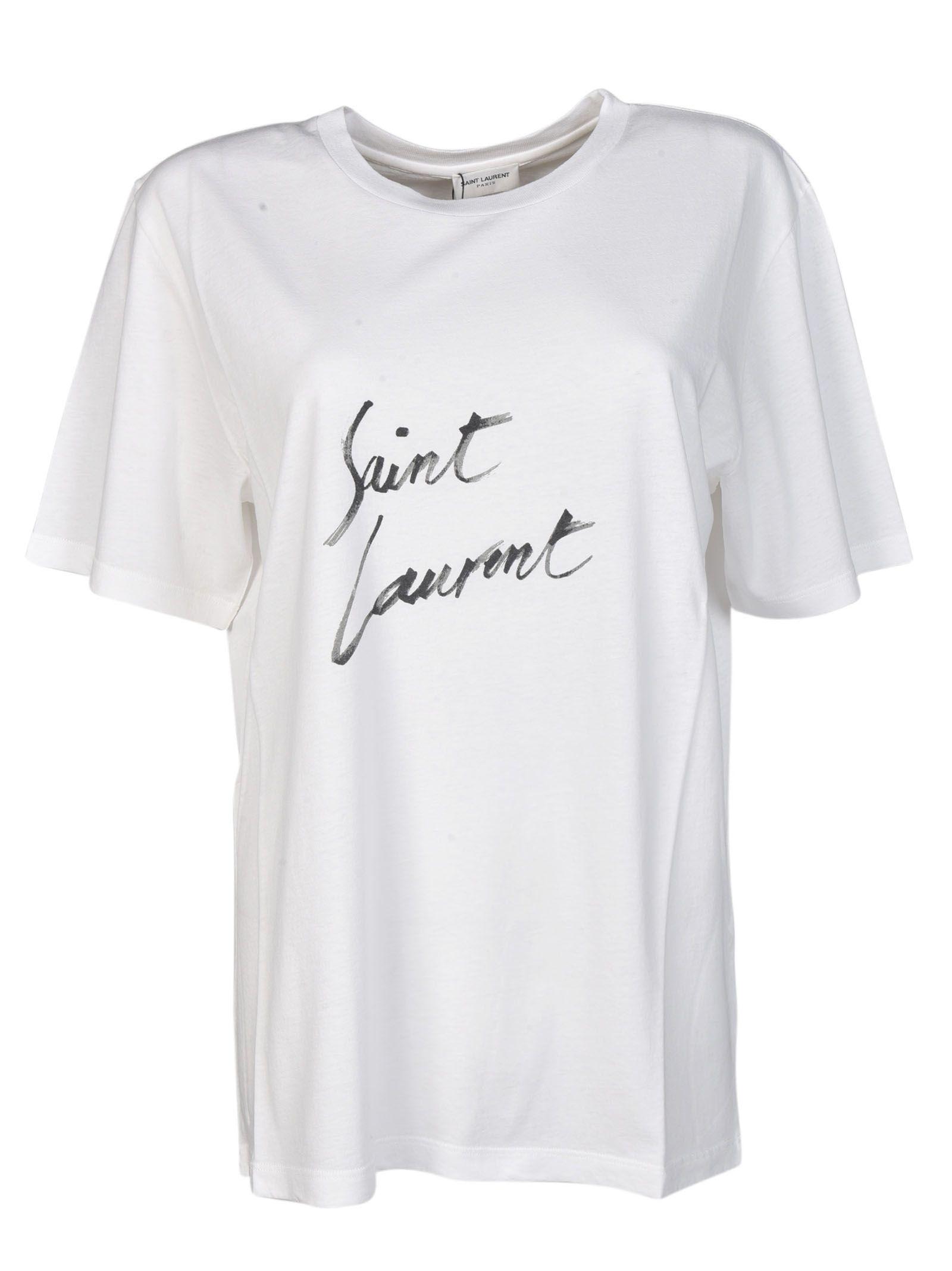 Saint laurent saint laurent logo t shirt white women for Saint laurent shirt womens
