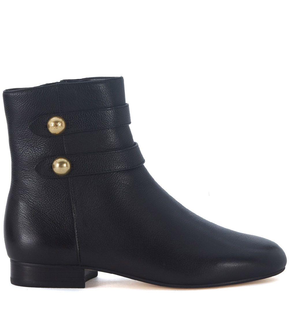 Michael Kors Masie Black Leather Ankle Boots