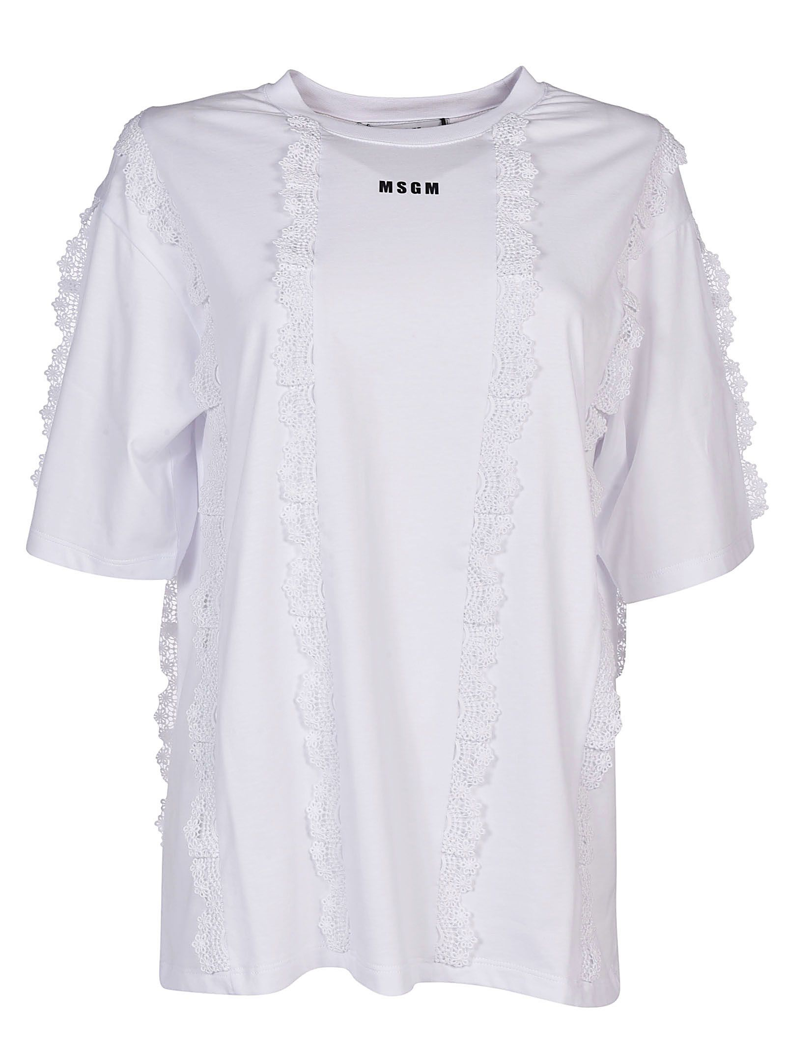 Msgm Lace Trim T-shirt