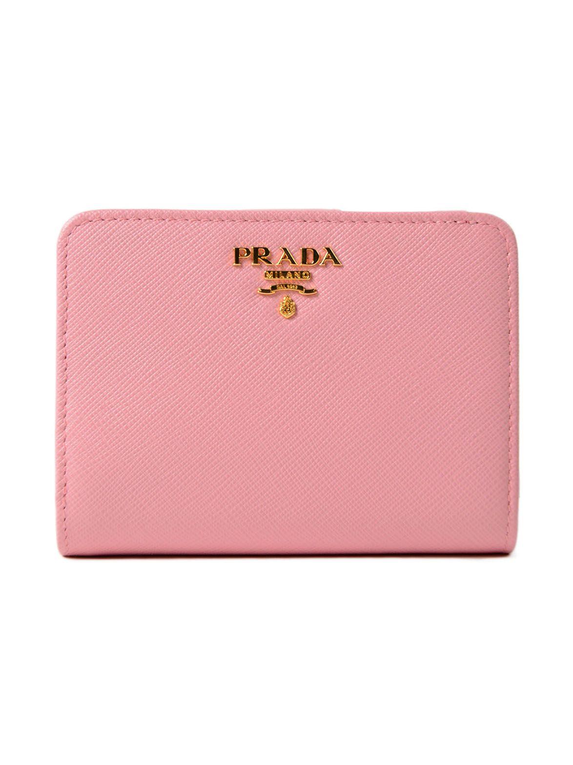 Prada Saff Metal Oro Zip Wallet