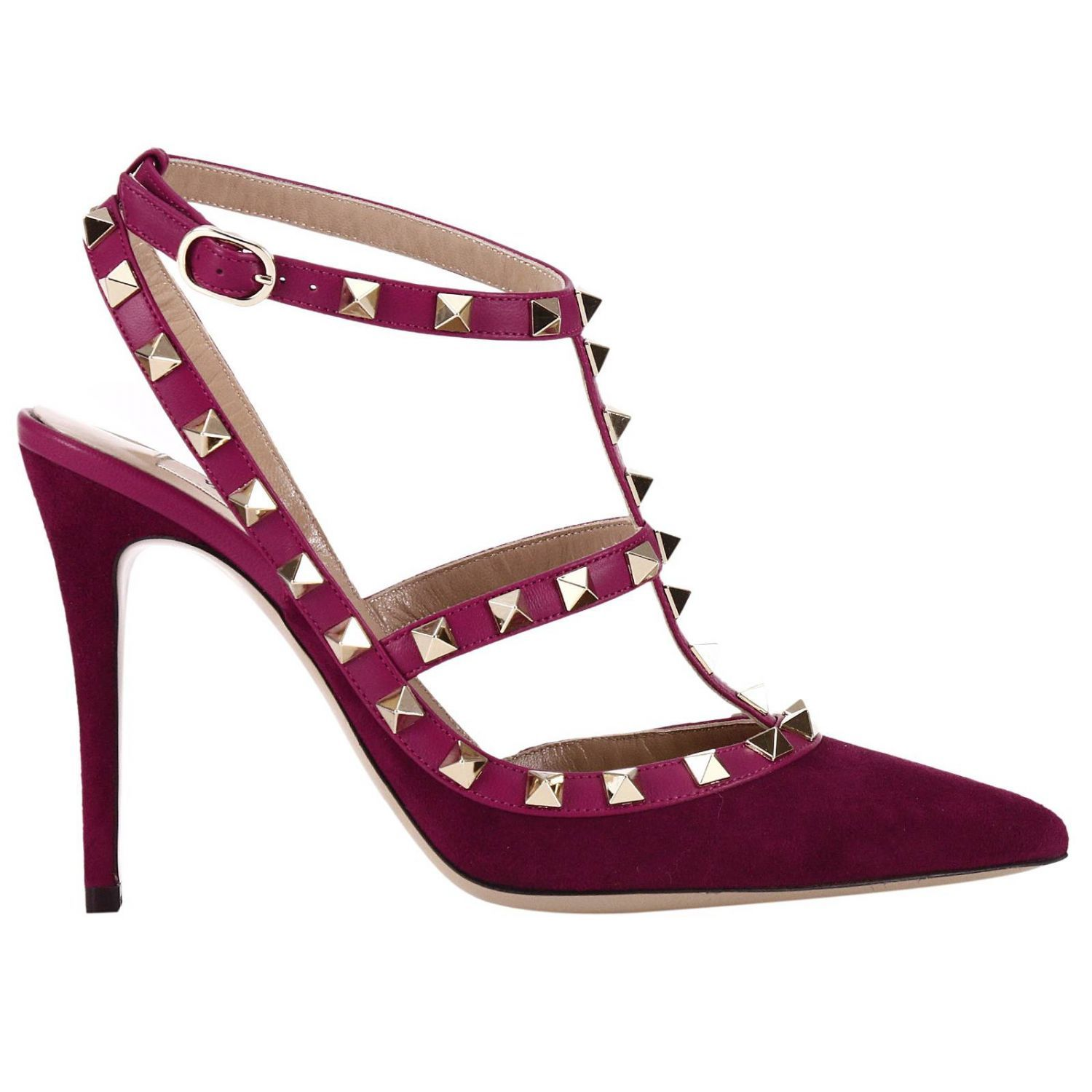 Pumps Rockstud Ankle Strap In Suede And Nappa With High Heel And Metal Studs