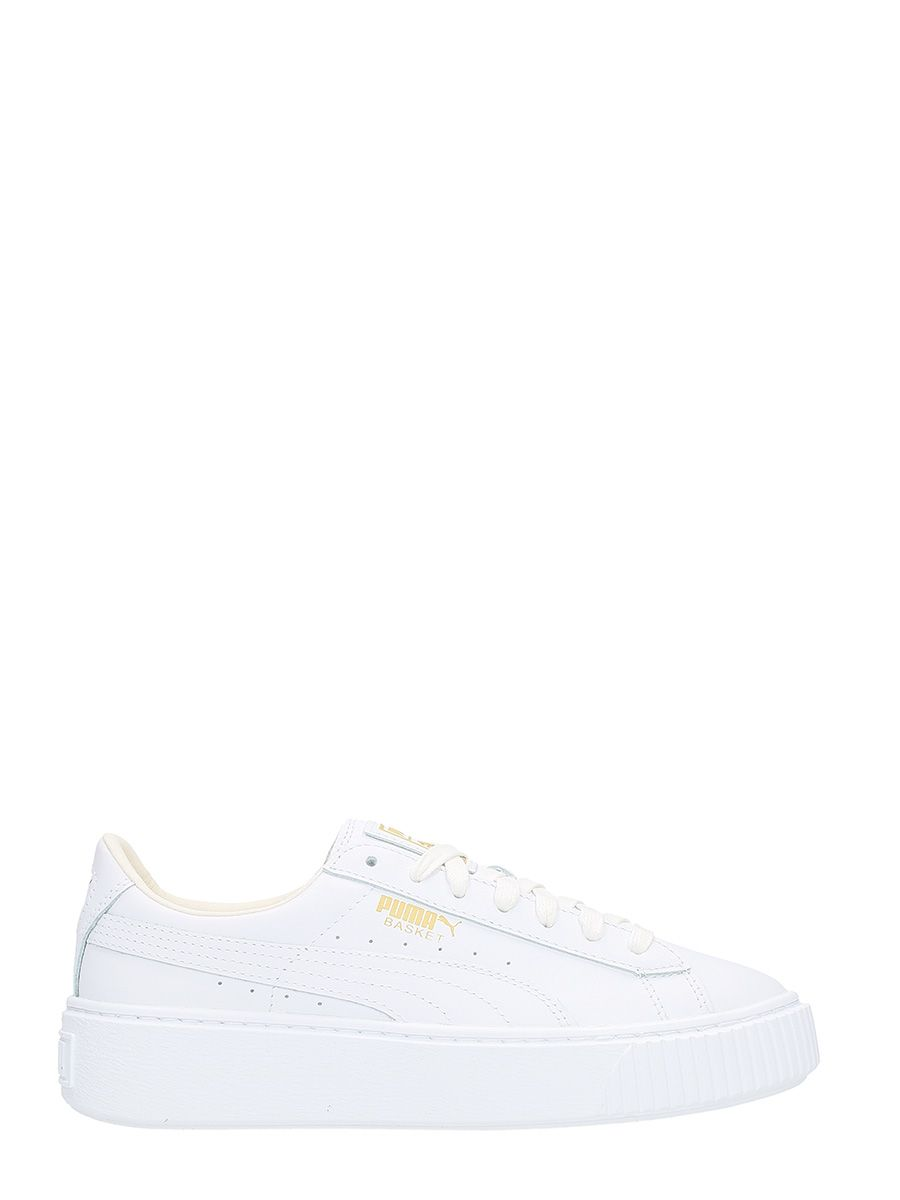 Puma Basket Platform White Leather Sneakers