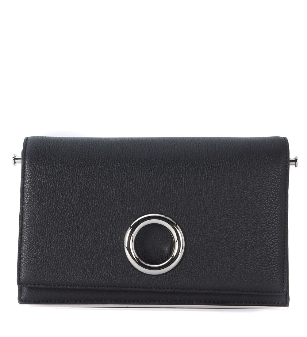 Alexander Wang Riot Clutch In Black Leather And Rhodium