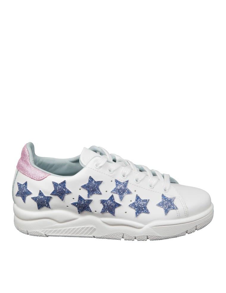 Chiara Ferragni Sneakers White Leather With Stars In Glitter