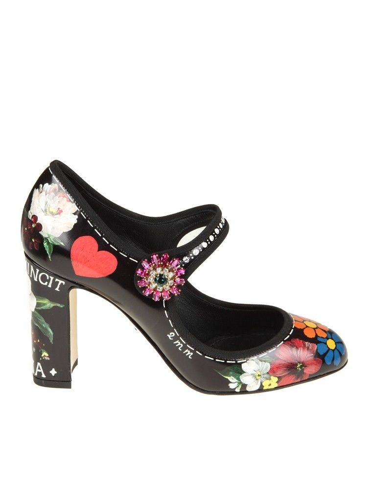 Dolce & Gabbana Printed Leather Mary Janes