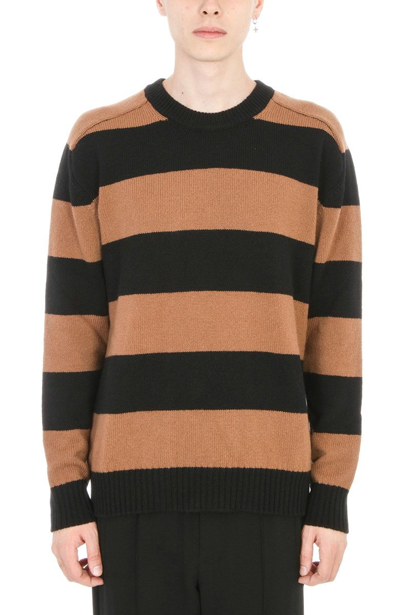 Laneus Black-brown Stripes Knit Wool