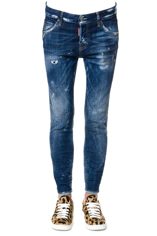 Dsquared2 Boyfriend Cotton Denim Distressed Jeans