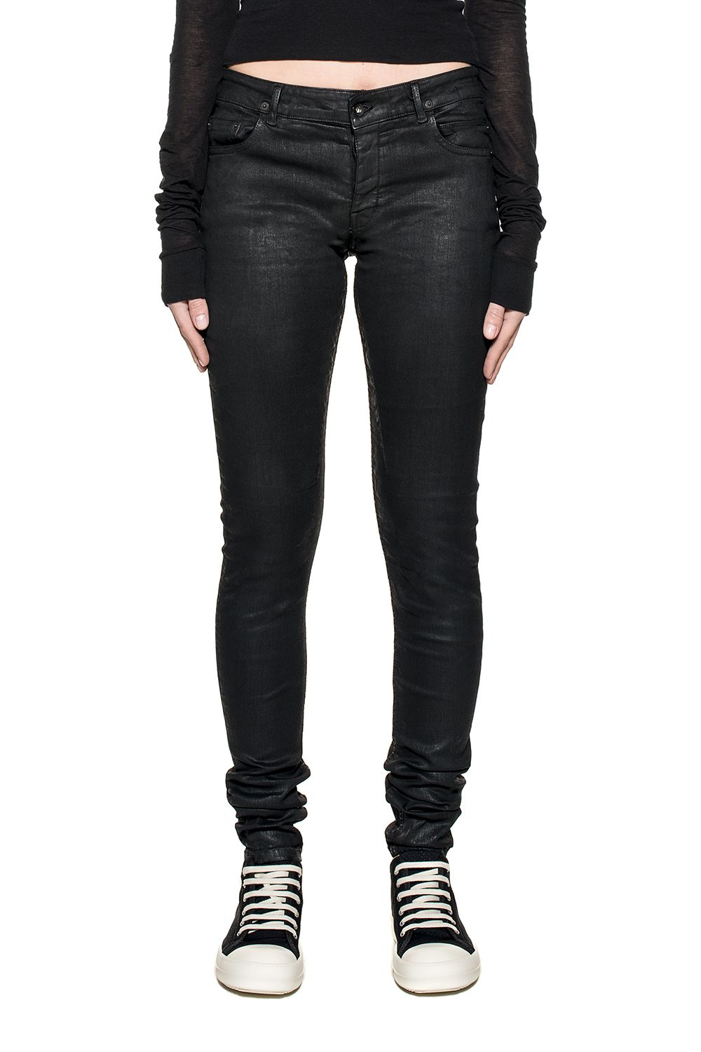 Black Detroit Waxed Denim Jeans