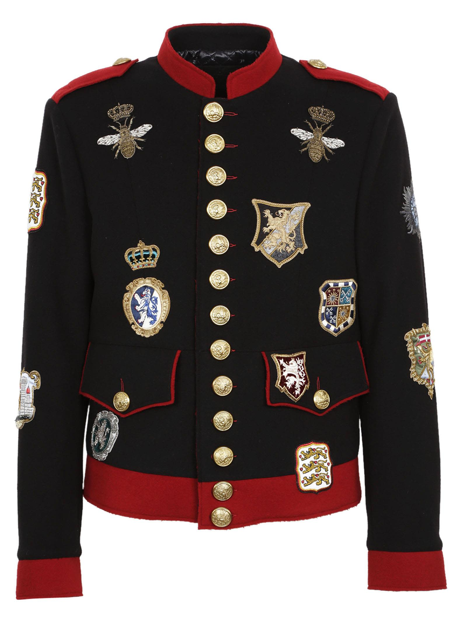 dolce gabbana dolce gabbana military patch jacket black men 39 s coats jackets italist. Black Bedroom Furniture Sets. Home Design Ideas